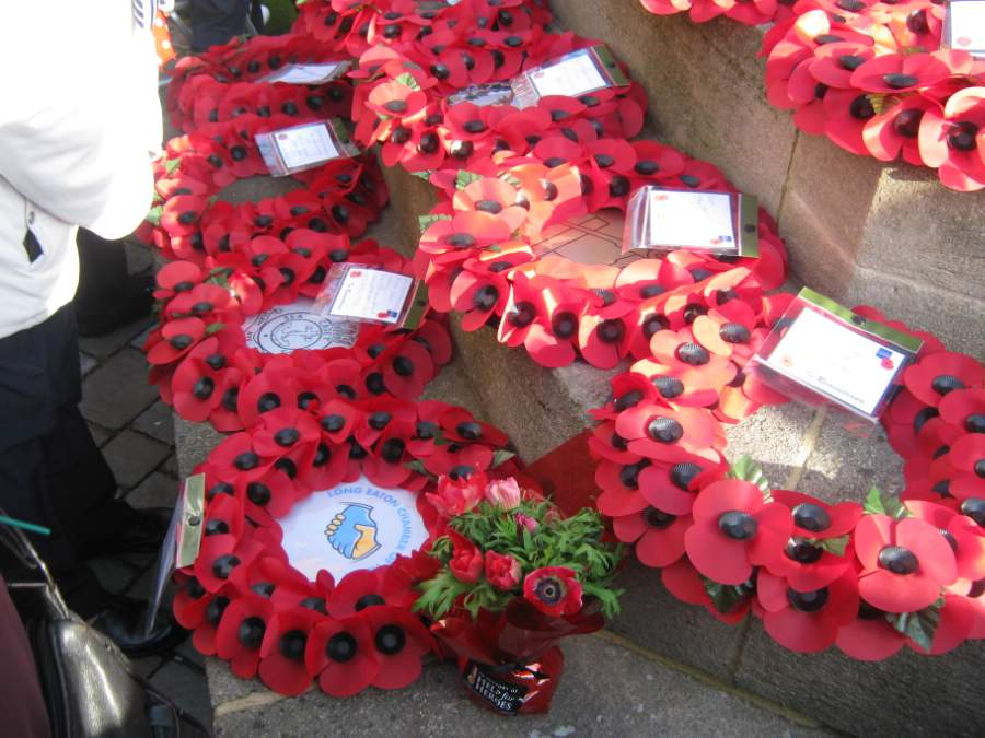 Wreaths at Long Eaton Remembrance Day